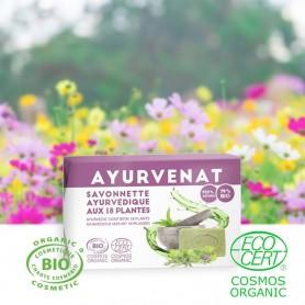Découvrez ce savon ultra doux unique en son genre composé de 18 plantes sélectionnées selon l'Ayurveda